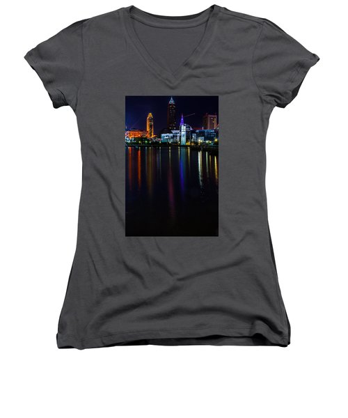 Cleveland Nightly Reflections Women's V-Neck
