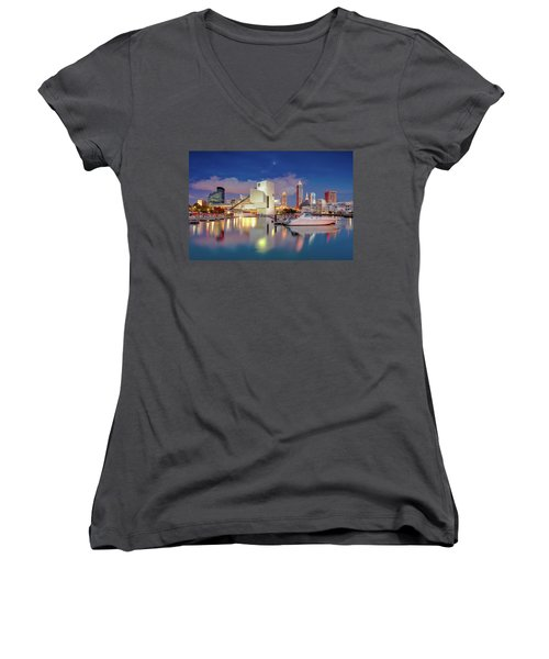 Women's V-Neck T-Shirt (Junior Cut) featuring the photograph Cleveland Ohio 2  by Emmanuel Panagiotakis