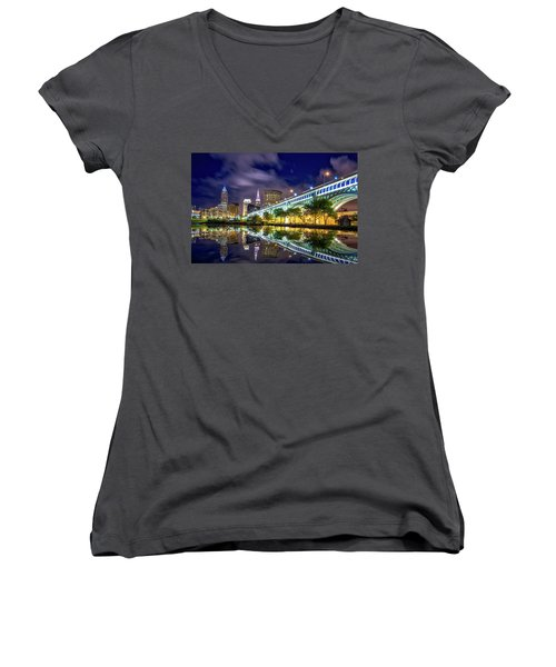 Women's V-Neck T-Shirt (Junior Cut) featuring the photograph Cleveland Skyline 4 by Emmanuel Panagiotakis