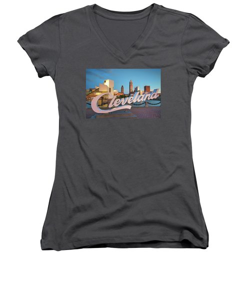 Women's V-Neck T-Shirt (Junior Cut) featuring the photograph Cleveland's North Coast by Brent Durken