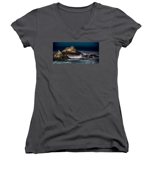 Women's V-Neck T-Shirt (Junior Cut) featuring the photograph Cliff House San Francisco Seal Rock by Steve Siri