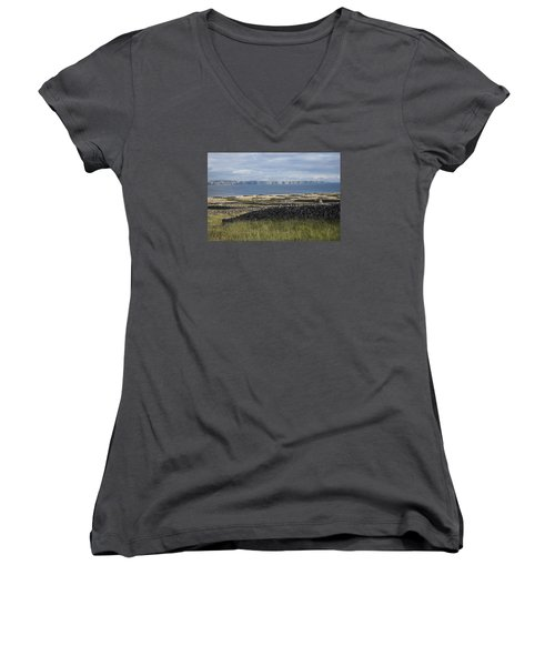 Cliffs Of Moher From Inisheer Women's V-Neck (Athletic Fit)
