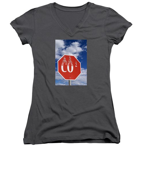 Climate Change Women's V-Neck T-Shirt (Junior Cut) by George Robinson