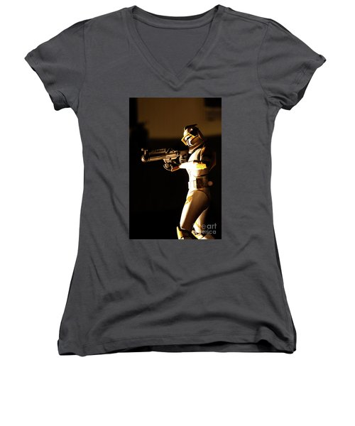Women's V-Neck T-Shirt (Junior Cut) featuring the photograph Clone Trooper 7 by Micah May