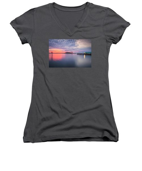 Close Of The Evening Women's V-Neck T-Shirt (Junior Cut) by David Cote