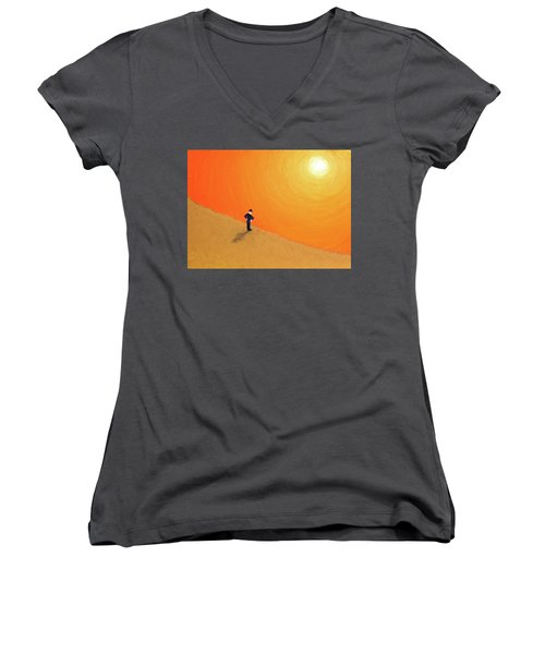 Women's V-Neck T-Shirt (Junior Cut) featuring the painting Close To The Edge by Thomas Blood