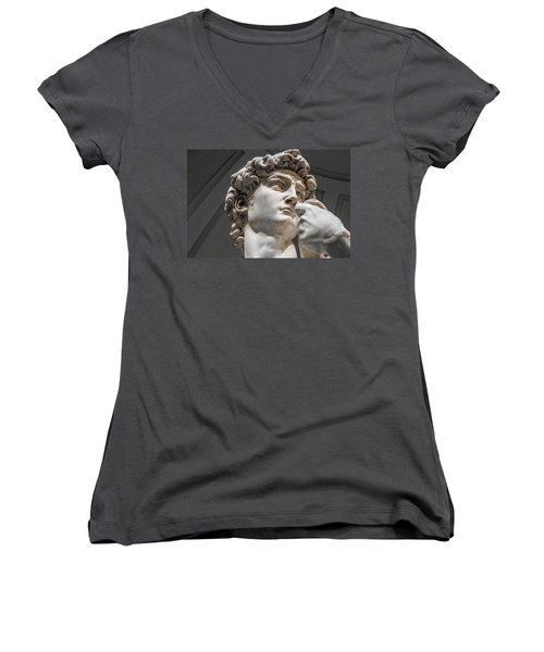 Close Up Of David By Michelangelo Women's V-Neck (Athletic Fit)