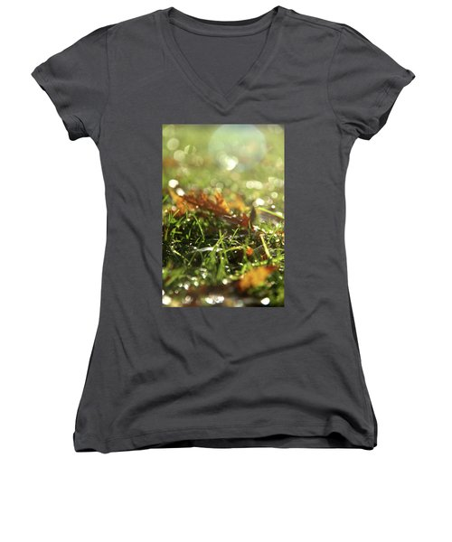 Close-up Of Dry Leaves On Grass, In A Sunny, Humid Autumn Morning Women's V-Neck