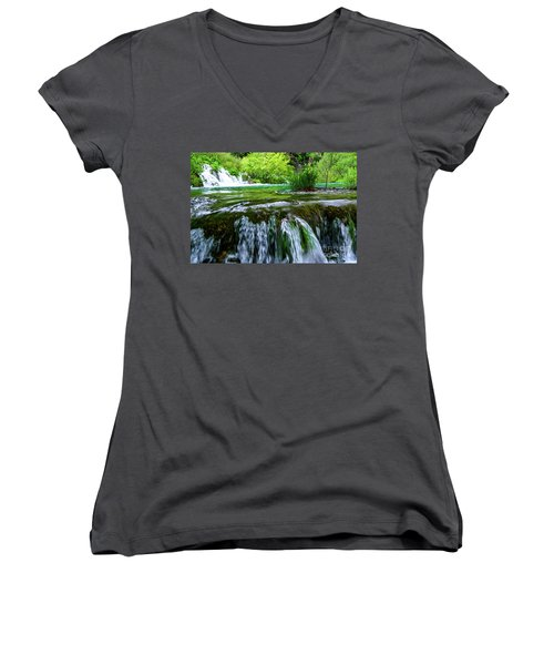 Close Up Waterfalls - Plitvice Lakes National Park, Croatia Women's V-Neck