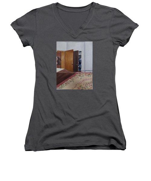 Closet Doors Women's V-Neck T-Shirt (Junior Cut) by Lyric Lucas