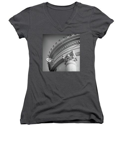 Women's V-Neck T-Shirt (Junior Cut) featuring the photograph Closeup Of Lighthouse  -58750 by John Bald