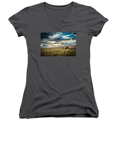 Cloud Break Over Sand Dunes Women's V-Neck