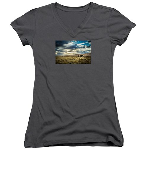 Cloud Break Over Sand Dunes Women's V-Neck
