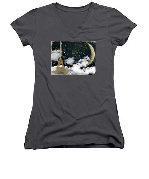 Cloud Cities Paris Women's V-Neck T-Shirt (Junior Cut) by Mindy Sommers