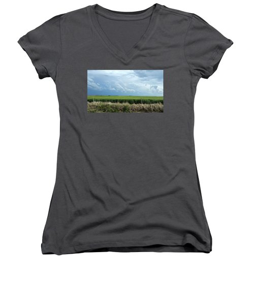 Cloud Gathering Women's V-Neck T-Shirt (Junior Cut) by Sylvia Thornton