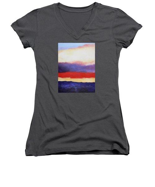 Cloud Layers 4 Women's V-Neck T-Shirt (Junior Cut) by M Diane Bonaparte