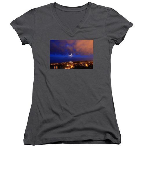 Clouded Eclipse Women's V-Neck (Athletic Fit)
