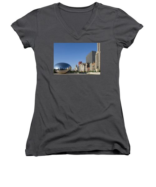 Cloudgate Reflects Michigan Avenue  Women's V-Neck