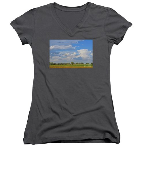 Clouds Aboive The Tree Farm Women's V-Neck