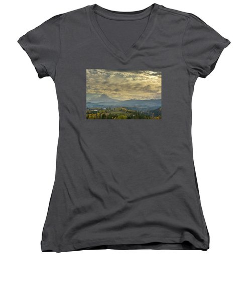 Clouds And Sun Rays Over Mount Hood And Hood River Oregon Women's V-Neck T-Shirt