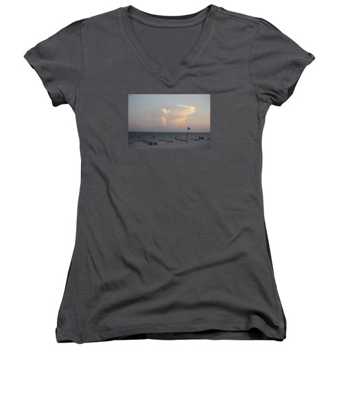 Clouds At The Beach Women's V-Neck T-Shirt (Junior Cut) by Donna G Smith
