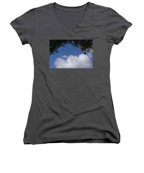 Women's V-Neck T-Shirt (Junior Cut) featuring the photograph Clouds Framed By Tree by Nora Boghossian