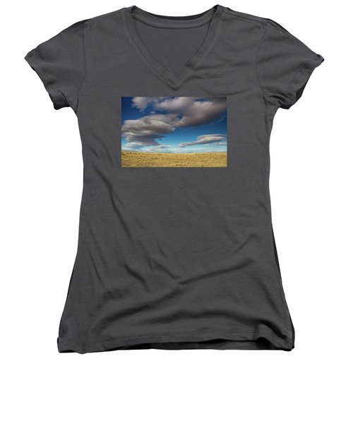 Clouds In Fields Oregon Women's V-Neck