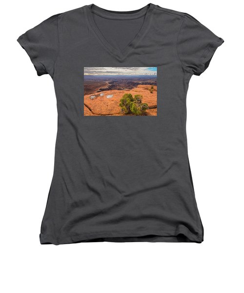 Clouds Junipers And Potholes Women's V-Neck T-Shirt (Junior Cut) by Angelo Marcialis