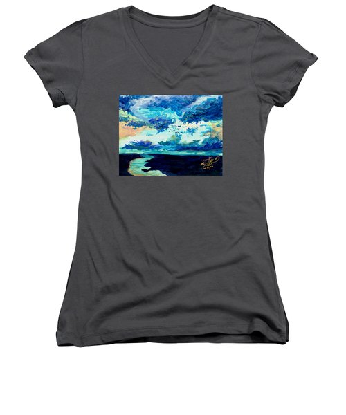 Clouds Women's V-Neck T-Shirt (Junior Cut) by Melinda Dare Benfield