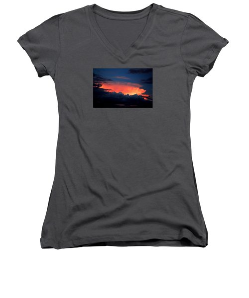 Clouds On Fire Women's V-Neck T-Shirt