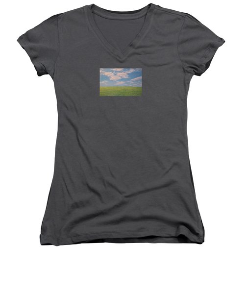 Clouds Over Green Field Women's V-Neck