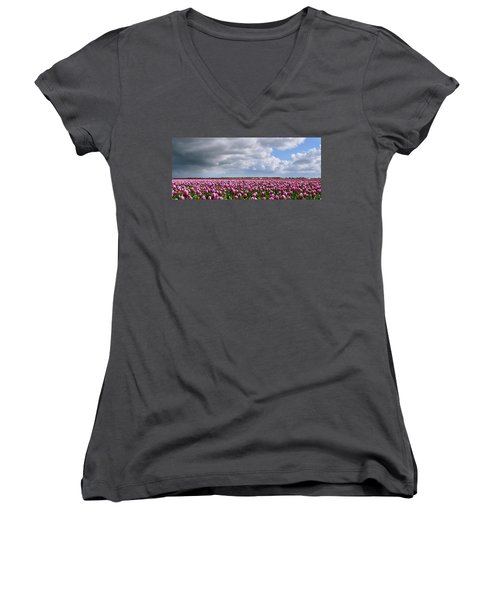 Clouds Over Purple Tulips Women's V-Neck T-Shirt