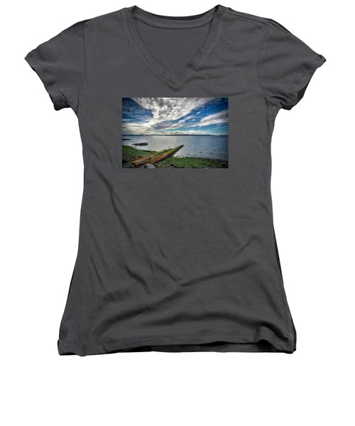 Clouds Over The Bay Women's V-Neck (Athletic Fit)
