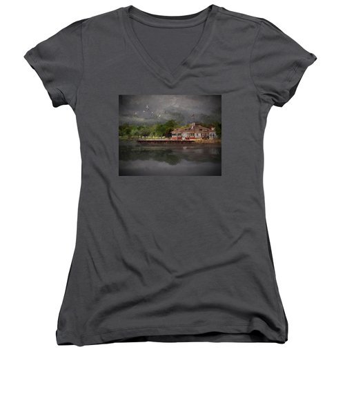 Clouds Over The Harbor Women's V-Neck T-Shirt