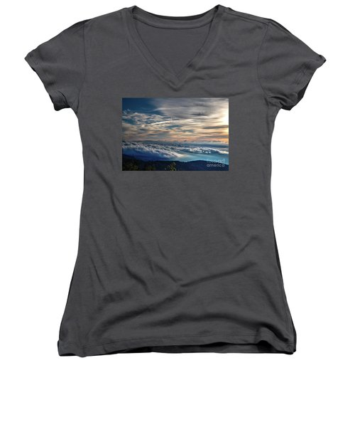 Women's V-Neck T-Shirt (Junior Cut) featuring the photograph Clouds Over The Smoky's by Douglas Stucky