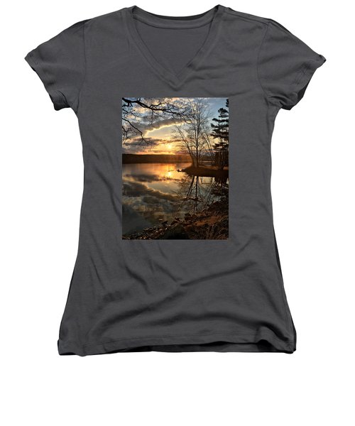 Clouds, Reflection And Sunset  Women's V-Neck T-Shirt (Junior Cut) by Betty Pauwels