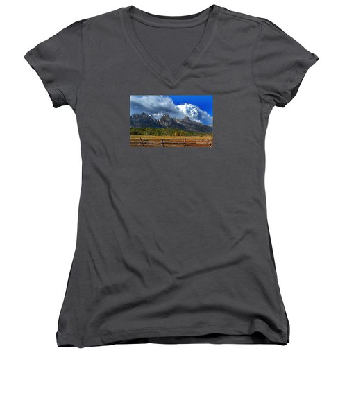 Women's V-Neck T-Shirt (Junior Cut) featuring the photograph Clouds Rising by Diane E Berry