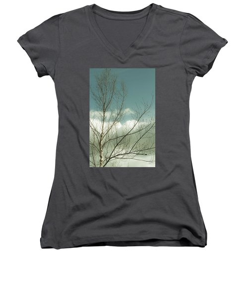 Women's V-Neck T-Shirt (Junior Cut) featuring the photograph Cloudy Blue Sky Through Tree Top No 1 by Ben and Raisa Gertsberg