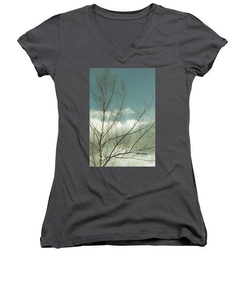 Cloudy Blue Sky Through Tree Top No 1 Women's V-Neck T-Shirt (Junior Cut) by Ben and Raisa Gertsberg
