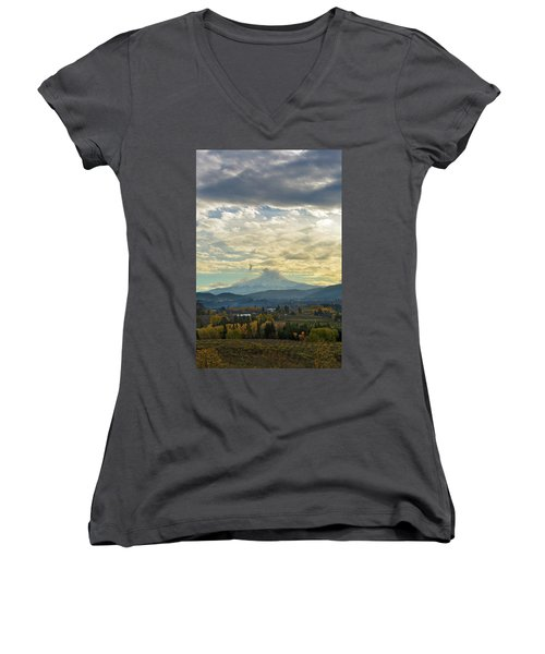 Cloudy Day Over Mount Hood At Hood River Oregon Women's V-Neck T-Shirt
