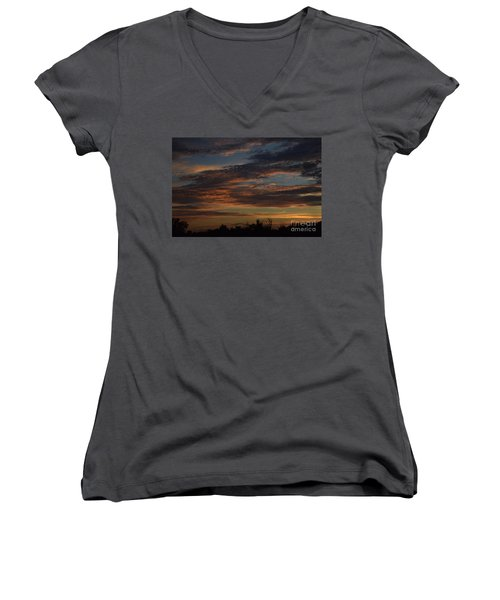 Women's V-Neck T-Shirt (Junior Cut) featuring the photograph Cloudy Kansas Evening by Mark McReynolds