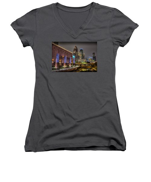 Women's V-Neck T-Shirt (Junior Cut) featuring the photograph Cloudy Night In Houston by David Morefield