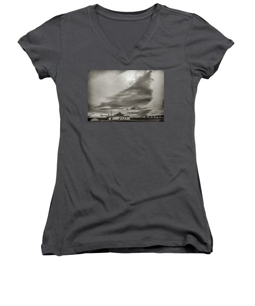 Women's V-Neck T-Shirt (Junior Cut) featuring the photograph Cloudy Sky, Karakorum, 2016 by Hitendra SINKAR