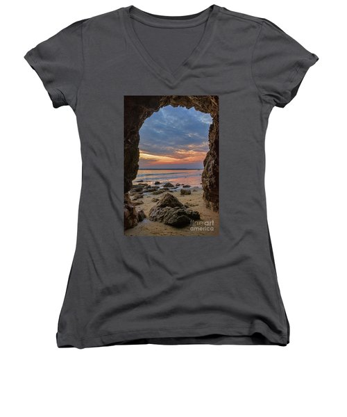 Cloudy Sunset At Low Tide Women's V-Neck