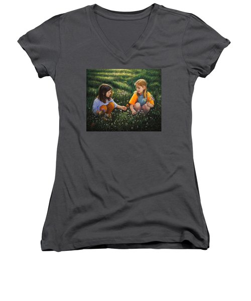 Clover Field Surprise Women's V-Neck T-Shirt (Junior Cut)