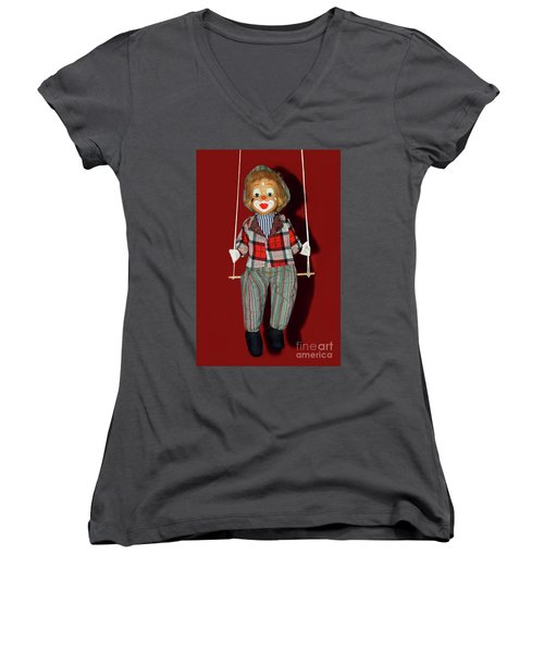 Women's V-Neck T-Shirt featuring the photograph Clown On Swing By Kaye Menner by Kaye Menner