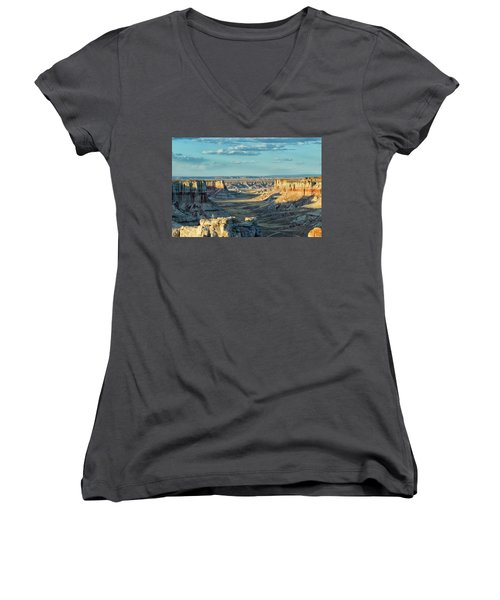 Coal Mine Canyon Women's V-Neck T-Shirt (Junior Cut) by Tom Kelly