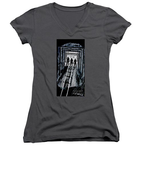 Coal Miners At Work Women's V-Neck (Athletic Fit)