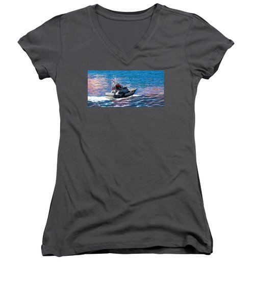 Women's V-Neck T-Shirt featuring the photograph Coast Guard Out To Sea by Aaron Berg