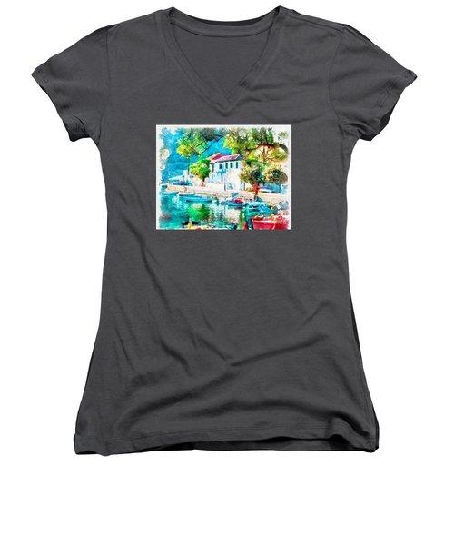 Coastal Cafe Greece Women's V-Neck T-Shirt (Junior Cut) by Yanni Theodorou